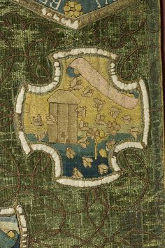 Embroidered detail of beekeep and bees |The Marian Hanging | Mary Queen of Scots | V Search the Collections