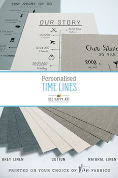 We offer a selection of timeline fabric prints, perfect gifts for any special occasion or anniversary! Especially ideal for cotton (2 years) and linen (4 or 12 years) anniversaries, most designs can include up to 12 dates. We also offer black or white framing options and an extensive collection of icon images to choose from! Visit our shop to view all designs... #BeeHappyArt #2yearanniversary #4yearanniversary #timeline #anniversarygiftsforhim #anniversarygiftideas 4 Year Anniversary, Anniversary Gifts For Him, Happy Art, Bee Happy, Natural Linen, All Design, Cotton Linen, Timeline, Printing On Fabric