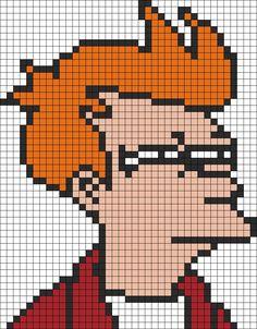 Futurama Fry  Perler Bead Pattern / Bead Sprite