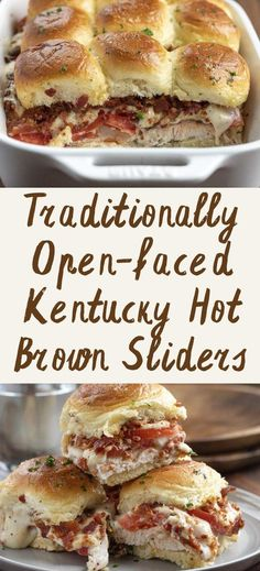 Kentucky Hot Brown Sliders take a traditionally open-faced sandwich and turn it into an appetizer with turkey, tomatoes, homemade cheese sauce, and bacon.