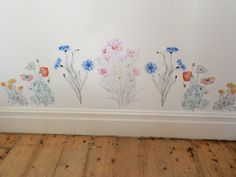 Flower wall decal meadow wall stickers by SmockBallpoint on Etsy