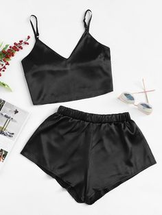 Solid Satin Crop Cami Top With ShortsFor Women-romwe Jolie Lingerie, Lingerie Outfits, Pretty Lingerie, Lingerie Set, Women Lingerie, Cute Pajama Sets, Cute Pajamas, Black Pajamas, Cute Lazy Outfits