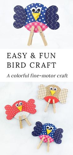 Looking for an easy and fun bird craft for kids? This colorful paper birdie craft includes a printable template, making it perfect for home or school. #birdcrafts #papercrafts #preschoolcrafts #springcrafts via @https://www.pinterest.com/fireflymudpie/