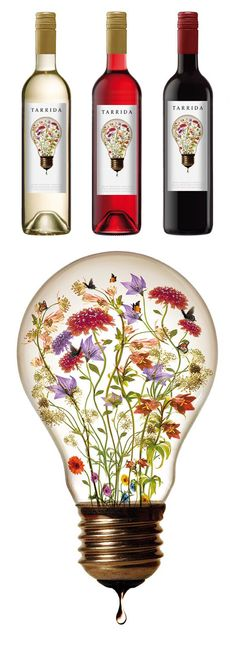 The Tarrida Wine labels feature an intriguing illustration of a surrealist themed emblem. The most interesting aspect of this design is that the graphic element instantly reveals a familiar form along with exquisite details of wildflowers. The displacement of the flowers' context is particularly effective in evoking a surreal composition. This label allows the viewer to ponder the meaning of the illustration, much like those of Cake Wines.