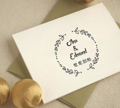 Personalized Mounted Wedding Laurel Custom Name Date Address Rubber Stamp Wedding Greetings, Decoration, Wedding Inspiration, Wedding Ideas, Greeting Cards, Dating, Place Card Holders, Names, Ink