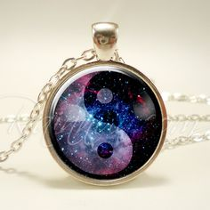 Yin Yang Galaxy Necklace, Soft Grunge Nebula Pendant, Cosmic Hipster Jewelry (1991S1IN) by rainnua on Etsy