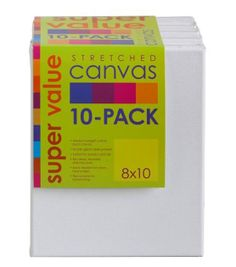 Jo-Ann Stores Stretched Canvas Super Value Pack 8''x10'', , hi-res (Or from Michaels, idc) Don't forget to use coupons, incl a competitor coupon! :D