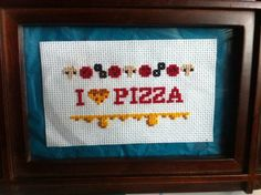 Adorable I Heart Pizza Finished Cross Stitch. Available on Etsy.