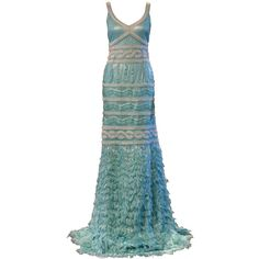 1stdibs.com | Kevan Hall Turquoise Blue Evening Gown