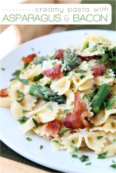 Creamy Pasta with Asparagus and Bacon #MilkEveryMoment