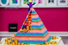 Colourful Pyramid Surprise Cake with Chocolate Ganache and Chocolate Coin Treasure – HOW TO CAKE IT