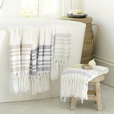 Our Turkish Bath Towels are the perfect blend of stylish turkish details with a terry cloth body that is super absorbent! - Bath Towel - Ideas of Bath Towel Best Bath Towels, Turkish Bath Towels, Bath Towel Sets, Hand Towels, Diy Bathroom Decor, Bathroom Storage, Bathroom Ideas, Ballard Designs, Interior Design Inspiration