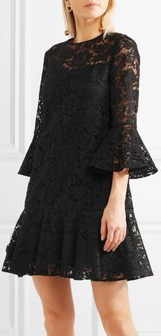 Ruffled Guipure Lace Mini Dress, Black