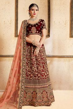 Beautiful Pink Color Net And Chiffon Fabric Embroidered Wedding Wear Lehenga Look spectacular for the next occasion or wedding functions in a beautiful pink color lehenga. This beautiful lehenga gives you traditional breathe taking looks and catches the a Red Lehenga, Bridal Lehenga Choli, Lehenga Suit, Indian Bridal Wear, Pakistani Bridal, Floral Skirt Outfits, Designer Party Wear Dresses, Designer Wear, Lehenga Choli Online
