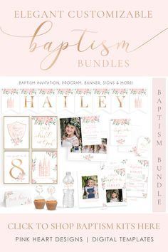 Save time preparing for your daughter's baptism with this beautiful baptism invitation and baptism program kit! Your information and photos can be added by you! Click to view the bundle! LDS Baptism Kit | LDS Baptism Invitation Girl | Baptism Girl | Editable Baptism Program | Baptism Template | LDS Baptism Printable | Corjl #baptisminvitation #LDSbaptism #girlbaptism #LDSprintable #baptismprogram #baptismkit #LDSbaptisminvitation Baptism Program, Baptism Invitations Girl, Tent Cards, Name Banners, Lds, Special Day, Note Cards, Girl Baptism, Heart Designs