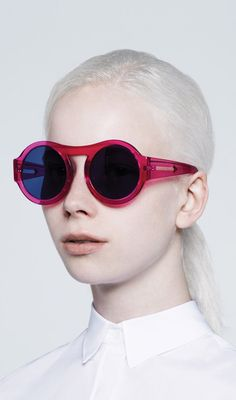 by karen walker | funky red rimmed circular shades sunglasses | all-white everything else