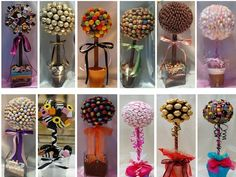 we could have these instead of flowers on the tables. Colour co-ordinated of course! Cookie Bouquet, Candy Bouquet, Makeup Bouquet, Chocolate Flowers Bouquet, Lollipop Tree, Instead Of Flowers, Sweet Trees, Tree Cakes, Candy Crafts