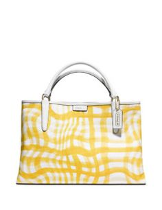 Coach East / West Borough Town Tote in Wavy Gingham Print Canvas