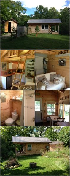 Amish-Made Tiny House for Sale in Michigan - Everyone knows that when the Amish build something they build it to last! This tiny house is no exception and it just so happens to be up for sale. While its not made for travel it does have Tiny House 200 Sq Ft, Shed To Tiny House, Small Tiny House, Tiny House Cabin, Tiny Houses For Sale, Small House Plans, Tiny Backyard House, Small Homes, Small Cottages