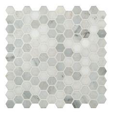 "MS International Arabescato Carrara 1"" x 1"" Hexagon & Dot Marble Mosaic Tile"