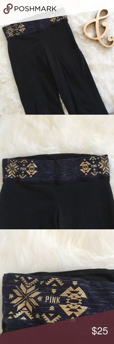PINK Yoga Pants Super cute black yoga pants from VS PINK. Marled blue and white waist band with gold design. Super soft and stretchy material. Perfect for your next yoga session or lounging around the house. No flaws! PINK Victoria's Secret Pants