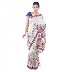 Ethnic handblock floral print cotton saree with blouse.
