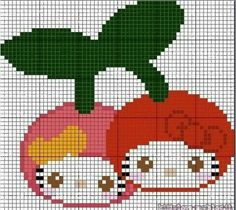 Hello Kitty fruits perler bead pattern