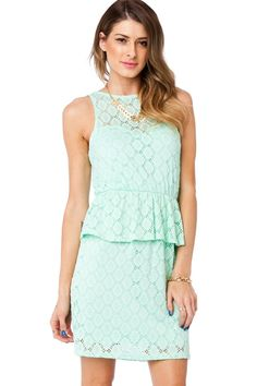 Bonnie Peplum Dress in Mint / ShopSosie #peplum #dress #mint #lace #shopsosie
