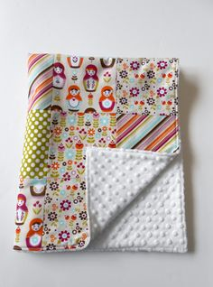 Minky Baby Patchwork Quilt Blanket Riley by KristensCoverlets, $50.00
