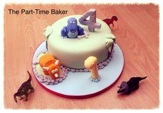 4th birthday dinosaur themed cake
