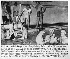 Jehovah's Witnesses Interracial Baptism in Tarrytown, New York - Jet Magazine, January 10, 1957 by vieilles_annonces, via Flickr