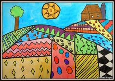 PAINTED PAPER: Folk Art Landscapes, great for talking about seasons, weather, and growing things.  Make outline to color-in for little kids.
