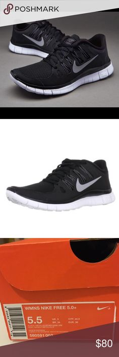WMNS NIKE FREE 5.0+ Brand new women Nike free 5.0+ black/metallic silver-dark gre noir/argent metallique size: 5.5 with original box. Nike Shoes Athletic Shoes