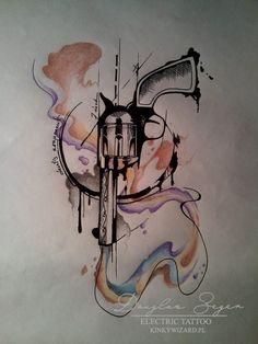 #gun #tattoo #watercolour #tatuaż #kinkywizard #pistolet #broń