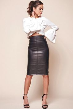 Buy the Noreiga Vegan Leather Mid-Length Skirt Black only at Selfie Leslie! Black Leather Pencil Skirt, Pencil Skirt Work, High Waisted Pencil Skirt, Pencil Skirts, Mini Skirts, Midi Skirt Outfit, Pencil Skirt Outfits, Dress Skirt, Black Pencil Skirt Outfit