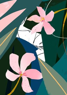 Girl Wallpaper- 'Oleander' - Inspired by my visit to Urban Jungle Norfolk! Art And Illustration, Illustrations Posters, Textures Patterns, Print Patterns, Art Mural, Art Design, Design Blog, Design Studio, Graphic Design