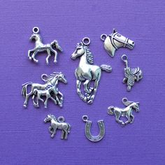 SC2191 10 Horse Charms Antique Silver Tone 2 Sided