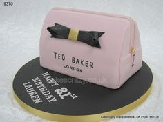 An ideal cake for the beauty conscious is this carved novelty shaped Ted Baker makeup bag shaped cake decorated in pink with the famous text logo Girly Birthday Cakes, Girly Cakes, Novelty Birthday Cakes, 18th Birthday Cake, Birthday Cakes For Women, Novelty Cakes, Handbag Cakes, Purse Cakes, Ted Baker Makeup