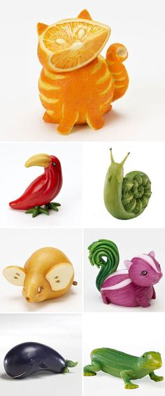Whimsical fruit figurines by Home Grown