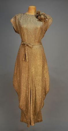 Circa 1940 Grey Silk and Silver Metallic Brocade Evening Gown.