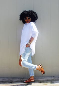 """ecstasymodels: """" White Oversized  Top- www.forever21.com// Denim- F21// Shoes- Ross Fashion Look by Made Alike Style """""""