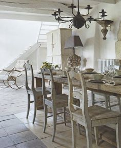 Limed wood long table  pickled wood