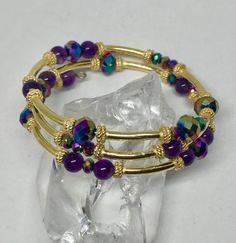 Amethyst Bracelet, Amethyst Jewelry, Amethyst Earrings, Stone Bracelet, Stone Jewelry, Bracelet Set, Beaded Jewelry, Memory Wire Jewelry, Memory Wire Bracelets
