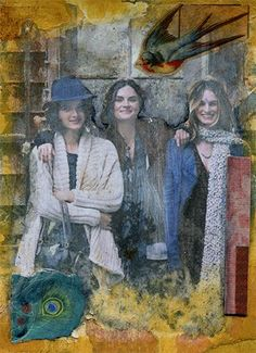 """Collage Friends by Shellie Lewis, 5"""" x 7"""".Paint transfer toner image, paper collage, acrylic paint, iridescent blue paint, gel medium and gel medium skin toner transfer, gloss acrylic sealer on re..."""