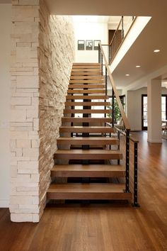 Thick Stair Treads with Modern Staircase and Cable Rail Modern Stair Open Riser. : Thick Stair Treads with Modern Staircase and Cable Rail Modern Stair Open Riser Skylights Stone Veneer Stone Wall Stair Railing Kits, Modern Stair Railing, Staircase Handrail, Stair Railing Design, Home Stairs Design, Modern Staircase, Stair Treads, Stair Lift, Farmhouse Stairs