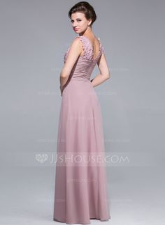 A-Line/Princess V-neck Floor-Length Chiffon Mother of the Bride Dress With Ruffle Lace Beading (008025768)