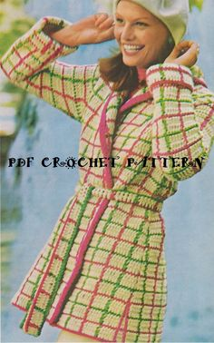 Instant Download Vintage Crochet Ladies' Plaid by KatnaboxCrochet