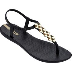 Ipanema Sandals Black Flip Flops - Ipanema Charm Ii Sandal... ($33) ❤ liked on Polyvore featuring shoes, sandals, flip flops, black, ipanema sandals, kohl shoes, black sandals, gold shoes and ipanema