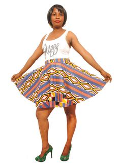 African Print Skirt - Skater Skirt