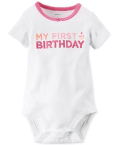 Carter's Baby Girls' Short-Sleeve My First Birthday Bodysuit